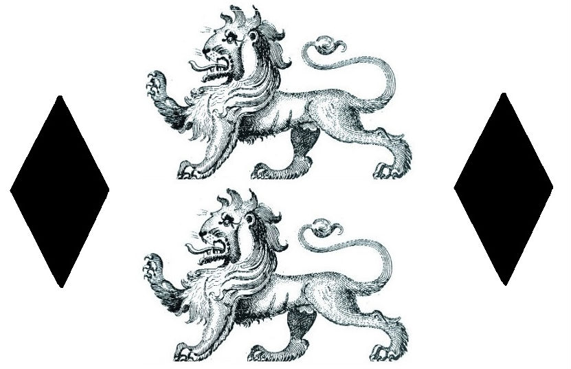 lions passant (2) between